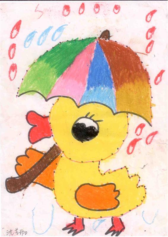 鸭宝宝拿着水桶简笔画儿童画